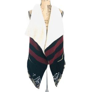 American Rag New Fleece and Faux Sherpa Aztec Print Boho Vest